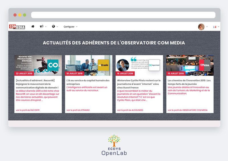 La plateforme ECDYS OpenLab permet le partage de connaissances grâce à son moteur de publication.